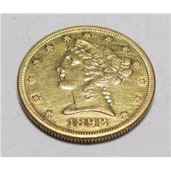 1898 s $ 5 Gold Liberty