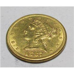 1887 s $ 5 Gold Liberty