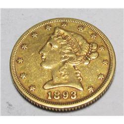 1893 P $ 5 Gold Liberty