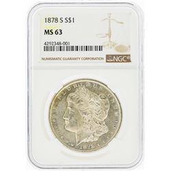1878-S $1 Morgan Silver Dollar NGC Graded MS63
