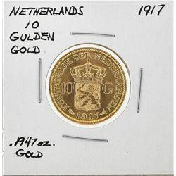 1917 Netherlands 10 Goulden Gold Coin