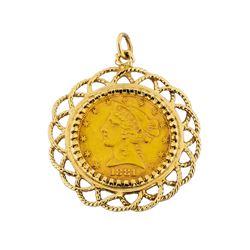 1881 $5 Liberty Head Gold Coin Pendant