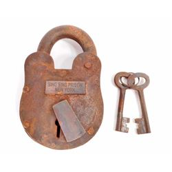 CAST IRON NEW YORK SING SING PRISON PADLOCK W/ KEYS