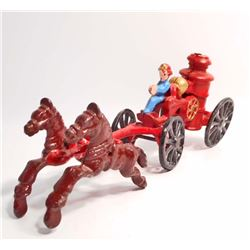 CAST IRON HORSE DRAWN FIRE ENGINE TOY