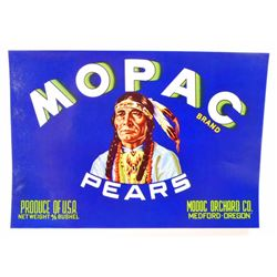 VINTAGE MOPAC PEARS FRUIT LABEL W/ NATIVE AMERICAN INDIAN GRAPHIC