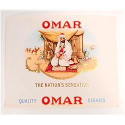 VINTAGE OMAR EMBOSSED CIGAR BOX LABEL