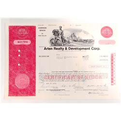 VINTAGE 1973 ARLEN REALTY & DEVELOPMENT CORP. STOCK CERTIFICATE