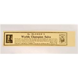VINTAGE DR BLUMERS WORLDS CHAMPION SALVE LABEL