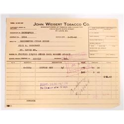 VINTAGE JOHN WEISERT TOBACCO COMPANY BILL HEADS / INVOICES