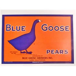 VINTAGE BLUE GOOSE PEARS ADVERTISING LABEL