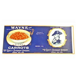 VINTAGE WAYNE DICED CARROTS EMBOSSED LABEL