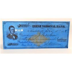 ANTIQUE 1878 STATE OF INDIANA FIRST NATIONAL BANK CHECK