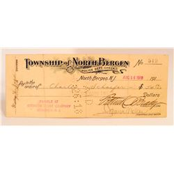 1918 TOWNSHIP OF NORTH BERGEN POLICE DEPT CHECK