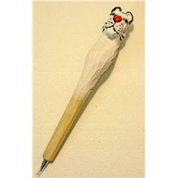 HAND CARVED WOOD FIGURAL WHITE TIGER PEN