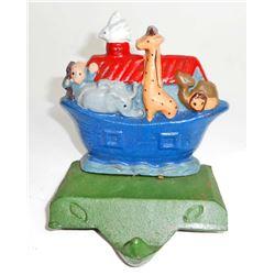 CAST IRON NOAHS ARK CHRISTMAS STOCKING SHELF HANGER