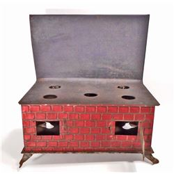 ANTIQUE TIN LITHO TOY STOVE - PATENT DATE DEC. 15 1905