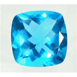 13.4 CT SWISS BLUE QUARTZ - CUSHION CUT