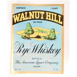 VINTAGE WALNUT HILL RYE WHISKEY LABEL
