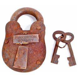 CAST IRON PINKERTON AGENCY PADLOCK W/ KEYS