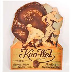 LOU GEHRIG KEN-WEL BRAND BASEBALL GLOVE ADVERTISING POSTER PRINT