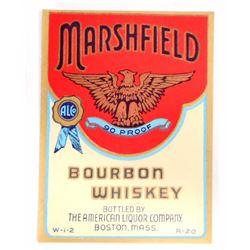 VINTAGE MARSHFIELD BOURBON WHISKEY LABEL