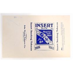 VINTAGE 1933 SMOKING TOBACCO INSERT