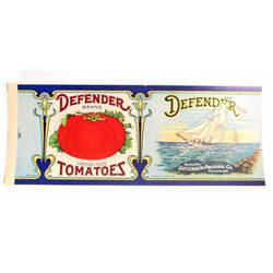 VINTAGE DEFENDER BRAND TOMATOES LABEL