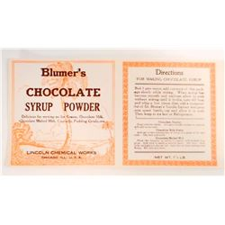 VINTAGE BLUMERS CHOCOLATE SYRUP POWDER ADVERTISING LABEL