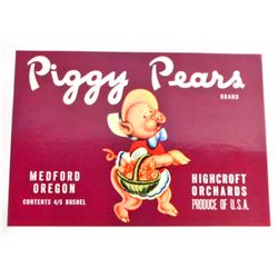 VINTAGE PIGGY PEARS FRUIT LABEL