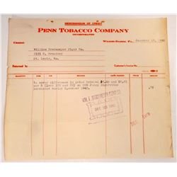 VINTAGE PENN TOBACCO COMPANY BILL HEADS / INVOICES
