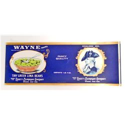 VINTAGE WAYNE BRAND TINY GREEN LIMA BEANS EMBOSSED LABEL
