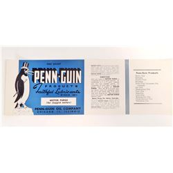 VINTAGE PENN-GUIN FAITHFUL LUBRICANTS OIL COMPANY LABEL