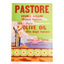 VINTAGE PASTORE OLIVE OIL ADVERTISING LABEL W/ NATIVE AMERICAN INDIAN GRAPHIC