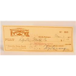 VINTAGE 1942 RITZVILLE TRADING CO COMPANY CHECK