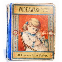 "ANTIQUE 1878 ""WIDE AWAKE PLEASURE BOOK"" HARDCOVER BOOK"