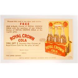 VINTAGE ROYAL CROWN COLA PROMOTIONAL POSTCARD