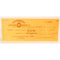 VINTAGE 1960 LITTLE BROWN JUG COMPANY CHECK