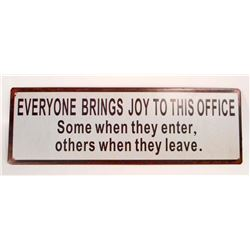 OFFICE JOY FUNNY METAL SIGN