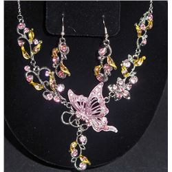 PINK AND SILVER BUTTERFLY NECKLACE AND EARRING SET