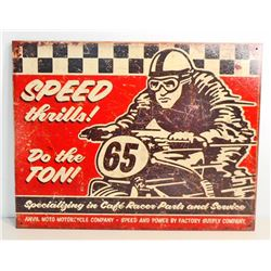 SPEED THRILLS DIRT BIKE RACING METAL SIGN