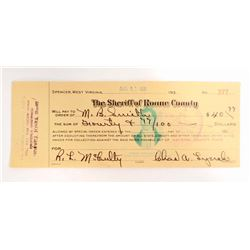 VINTAGE 1931 SHERIFF OF ROANE COUNTY CHECK