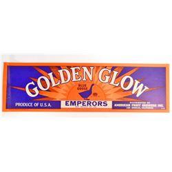 VINTAGE BLUE GOOSE GOLDEN GLOW FRUIT LABEL