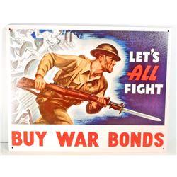 BUY WAR BONDS US MILITARY METAL SIGN