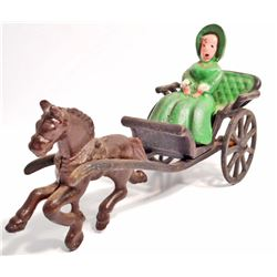 CAST IRON HORSE DRAWN CARRIAGE W/ WOMAN FIGURE