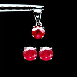 WHITE GOLD OVER STERLING SILVER RED RUBY PENDANT AND EARRING SET