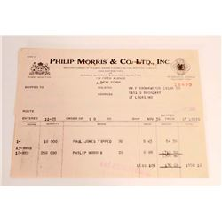 LOT OF VINTAGE PHILIP MORRIS & CO LTD INC TOBACCO COMPANY BILL HEADS / INVOICES