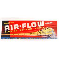 VINTAGE AIR-FLOW FLORIDA CITRUS FRUIT LABEL