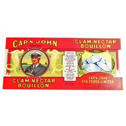 VINTAGE CAPN JOHN CLAM NECTAR BOUILLON LABEL