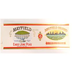 VINTAGE MAYFIELD BRAND EARLY JUNE PEAS LABEL
