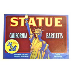 VINTAGE STATUE OF LIBERTY CALIFORNIA BARTLETTS ADVERTISING LABEL